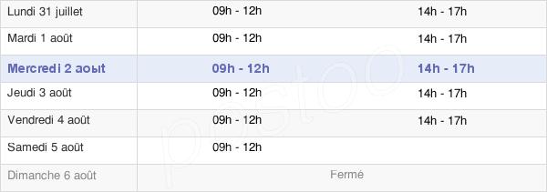horaires d'ouverture de la Mairie De Pornic