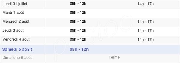 horaires d'ouverture de la Mairie De Sévérac