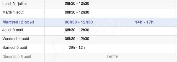 horaires d'ouverture de la Mairie De Vay