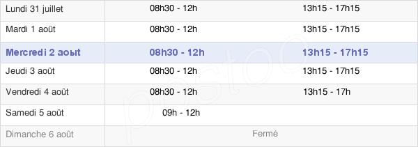 horaires d'ouverture de la Mairie De Vigneux-De-Bretagne