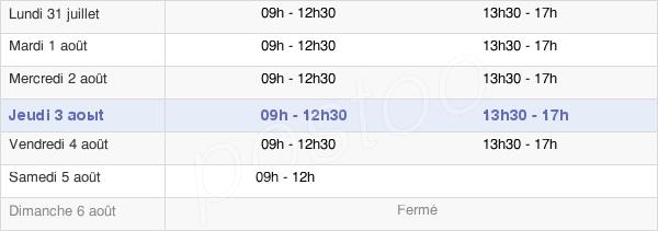 horaires d'ouverture de la Mairie De Piriac-Sur-Mer
