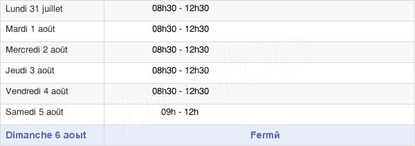 horaires d'ouverture de la Mairie De La Grigonnais