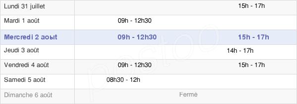horaires d'ouverture de la Mairie De Mouzillon
