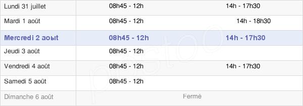 horaires d'ouverture de la Mairie D'Haute-Goulaine
