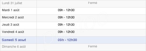 horaires d'ouverture de la Mairie De Barbechat