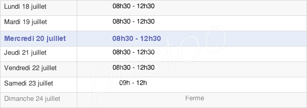 horaires d'ouverture de la Mairie Du Gâvre