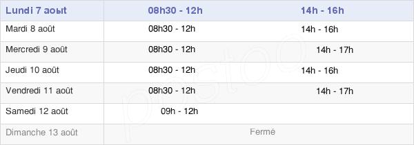 horaires d'ouverture de la Mairie Du Cellier
