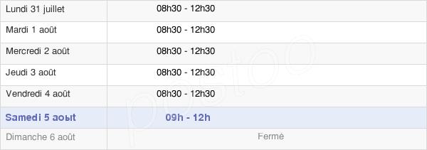 horaires d'ouverture de la Mairie D'Abzac