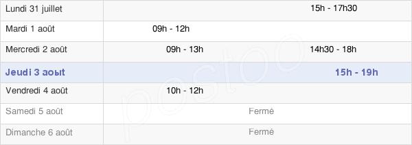 horaires d'ouverture de la Mairie De Réparsac
