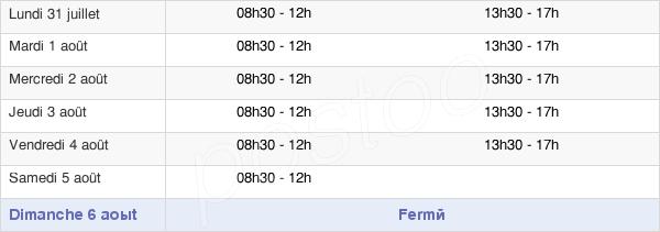 horaires d'ouverture de la Mairie De Chasseneuil-Sur-Bonnieure