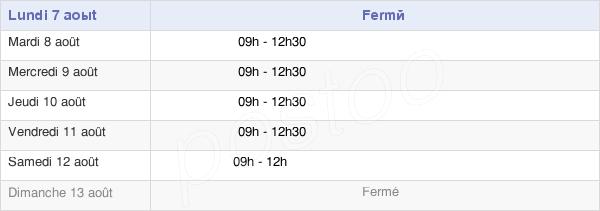 horaires d'ouverture de la Mairie De Sigogne