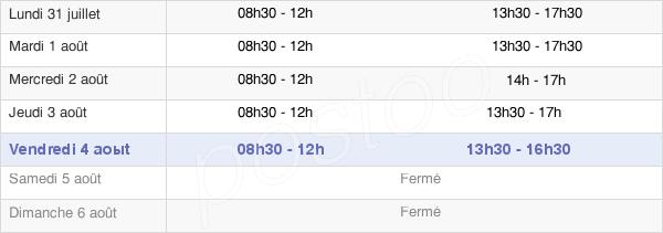 horaires d'ouverture de la Mairie De Lessac