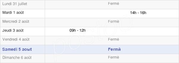 horaires d'ouverture de la Mairie De Saint Laurent Des Combes
