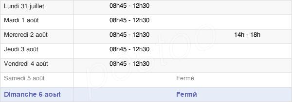 horaires d'ouverture de la Mairie De Bérat