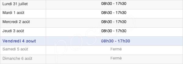 horaires d'ouverture de la Mairie De Puymoyen