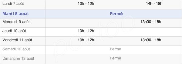 horaires d'ouverture de la Mairie De Mesnac