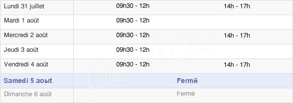 horaires d'ouverture de la Mairie De La Roche-Vineuse