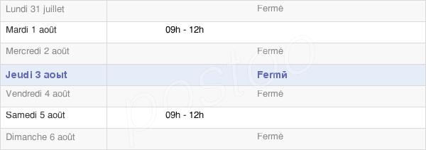 horaires d'ouverture de la Mairie De La Chaux