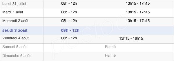 horaires d'ouverture de la Mairie De Branges