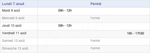 horaires d'ouverture de la Mairie De Nanton