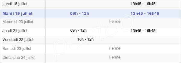 horaires d'ouverture de la Mairie De Bresse-Sur-Grosne