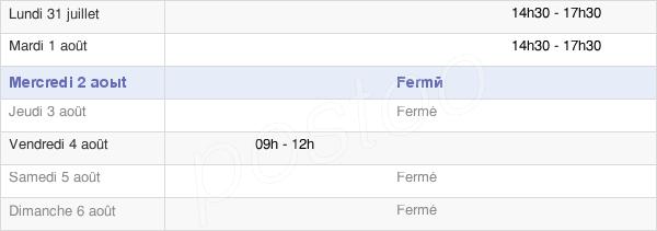 horaires d'ouverture de la Mairie De Charbonnat