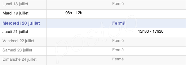 horaires d'ouverture de la Mairie De Brienne