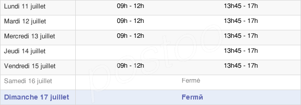 horaires d'ouverture de la Mairie De Saint-Sernin-Du-Bois