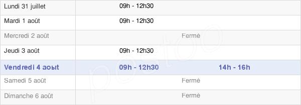 horaires d'ouverture de la Mairie De Chassy