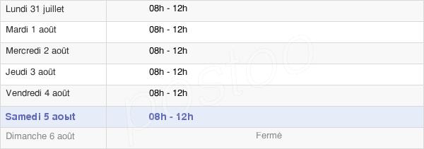 horaires d'ouverture de la Mairie De Simard