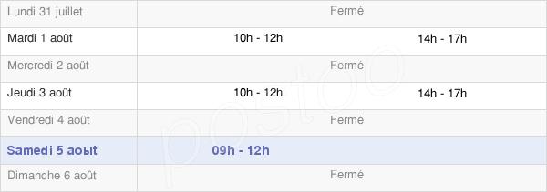 horaires d'ouverture de la Mairie De Vendenesse-Lès-Charolles