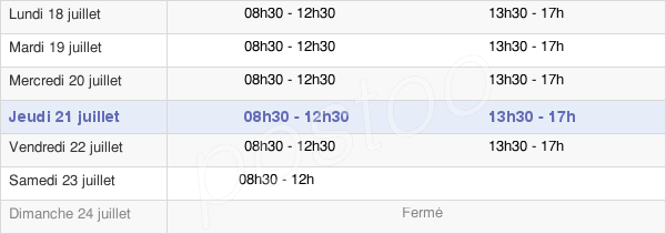 horaires d'ouverture de la Mairie De La Chapelle-De-Guinchay