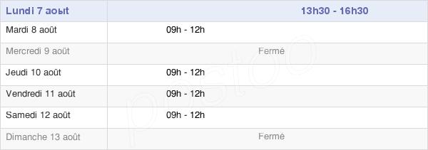 horaires d'ouverture de la Mairie De Bantanges