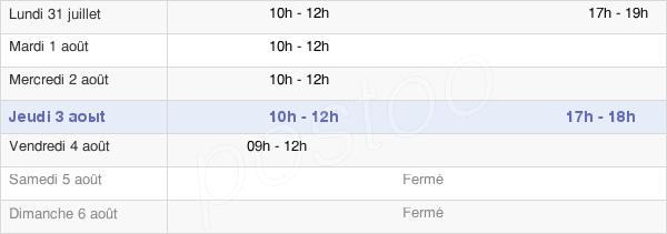 horaires d'ouverture de la Mairie De Lugny