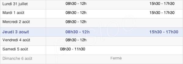 horaires d'ouverture de la Mairie De Chalmoux