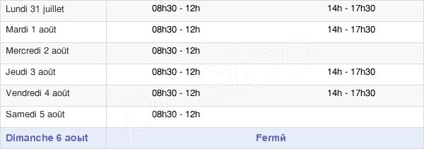 horaires d'ouverture de la Mairie De Curgy
