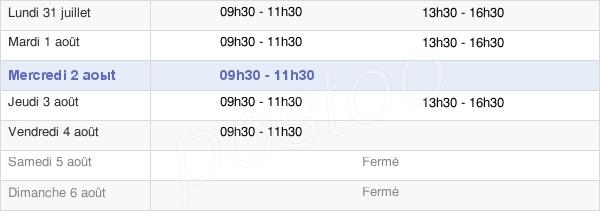 horaires d'ouverture de la Mairie De Semur-En-Brionnais
