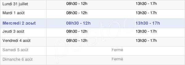 horaires d'ouverture de la Mairie De Montchanin