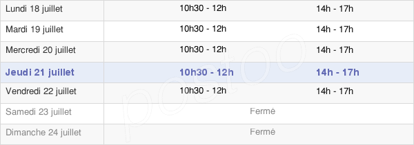 horaires d'ouverture de la Mairie De Bugeat