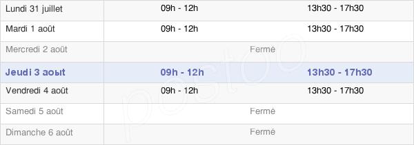 horaires d'ouverture de la Mairie De Moustier Vendatour