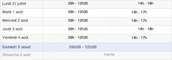 horaires d'ouverture de la Mairie De Saint-Martin-La-Méanne