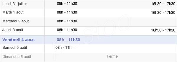 horaires d'ouverture de la Mairie De Ban-Sur-Meurthe-Clefcy