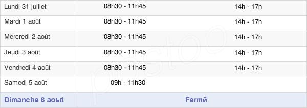 horaires d'ouverture de la Mairie D'Anould