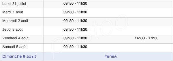horaires d'ouverture de la Mairie De La Houssière