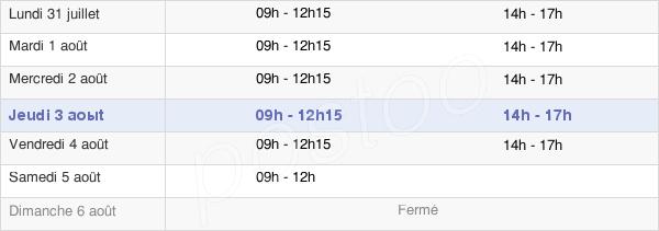 horaires d'ouverture de la Mairie De La Bresse