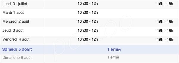 horaires d'ouverture de la Mairie De Docelles