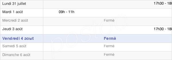 horaires d'ouverture de la Mairie De Fontenay