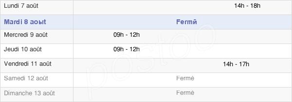 horaires d'ouverture de la Mairie De Chaffois