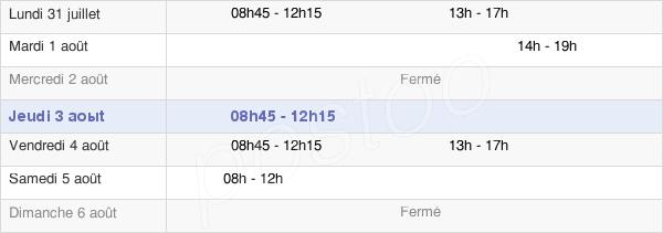 horaires d'ouverture de la Mairie De Bouclans