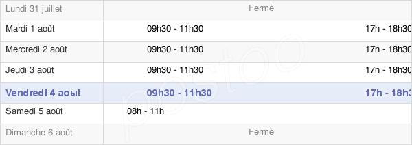 horaires d'ouverture de la Mairie De Mathay